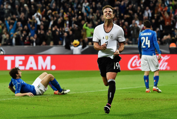 Götze celebrates his goal for Germany on Tuesday, the 17th he has scored for his country. (Picture: Getty Images)