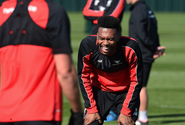 Sturridge enjoys a laugh in Liverpool first-team training at Melwood on Friday 1st April. (Picture: Getty Images)