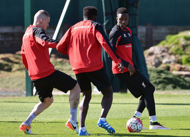 Origi in training after recovering from a thigh injury in time to potentially face Spurs. (Picture: Getty Images)