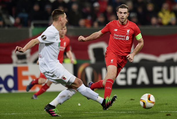 Henderson and Liverpool have already travelled to Augsburg once in the knockout rounds of the Europa League this season, drawing 0-0 at Augsburg before a 1-0 home win in the reverse game. (Picture: Getty Images)