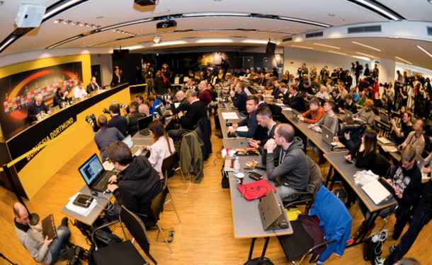 Dortmund's press conference room was packed with global media on Klopp's return. (Picture: Getty Images)