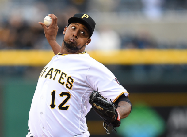 Juan Nicasio #12 of the Pittsburgh Pirates pitches during the game against the St. Louis Cardinals on April 6, 2016 at PNC Park in Pittsburgh, Pennsylvania. (Photo by Joe Sargent/Getty Images)