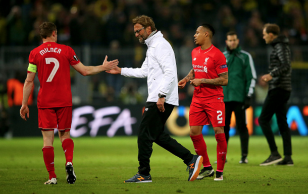 Klopp looked delighted when greeting his players after the full-time whistle. (Picture: Getty Images)