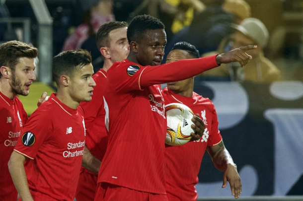 Origi celebrates the opening goal with his Liverpool teammates in Dortmund. (Picture: Getty Images)