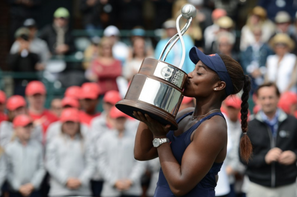 Sloane Stephens with the trophy. Source: Christopher Levy