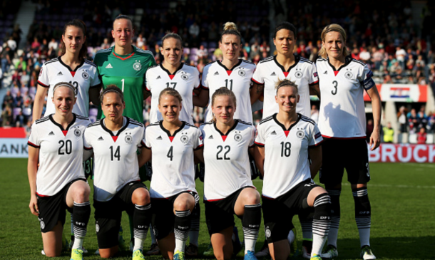 Players of Germany pose for a picture during the UEFA Women's Euro 2017 qualifier between Germany and Croatia at Osnatel Arena on April 12, 2016 in Osnabrueck, Germany. (Photo by Lars Baron/Bongarts/Getty Images)