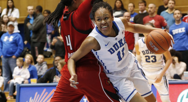 Duke's Azura Stevens, right, drives to the basket against Louisville's Mariya Moore during the first half of an NCAA college basketball game Monday, Feb. 2, 2015, in Durham, N.C. (AP Photo/Ellen Ozier) The Associated Press
