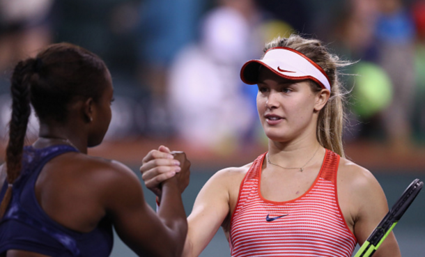 Eugenie Bouchard of Canada is congratulated by Sloane Stephens of USA during day six of the BNP Paribas Open at Indian Wells Tennis Garden on March 12, 2016 in Indian Wells, California. (Photo by Julian Finney/Getty Images)