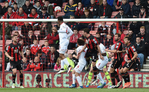 Sturridge rises high to flick a header hope from Ibe's free-kick. (Picture: Getty Images)