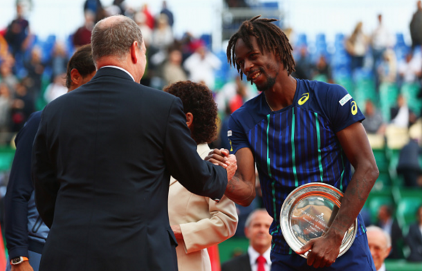 Prince Albert II of Monaco shakes hands with runner-up Gael Monfils of France after the singles final match against Rafael Nadal of Spain during day eight of the Monte Carlo Rolex Masters at Monte-Carlo Sporting Club on April 17, 2016 in Monte-Carlo, Monaco. (Photo by Michael Steele/Getty Images)