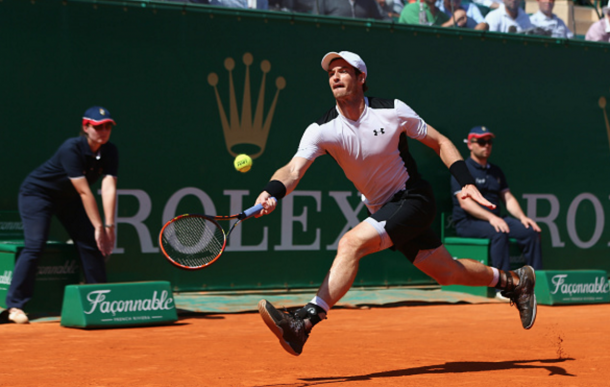Andy Murray of Great Britain stretches to return during his semi-final match against Rafael Nadal of Spain during the semi final match on day seven of the Monte Carlo Rolex Masters at Monte-Carlo Sporting Club on April 16, 2016 in Monte-Carlo, Monaco. (Photo by Michael Steele/Getty Images)