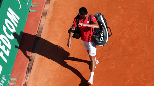 Novak Djokovic of Serbia leaves the court following defeat during his second round match against Jiri Vesely of the Czech Republic on day four of the Monte Carlo Rolex Masters at Monte-Carlo Sporting Club on April 13, 2016 in Monte-Carlo, Monaco. (Photo by Michael Steele/Getty Images)