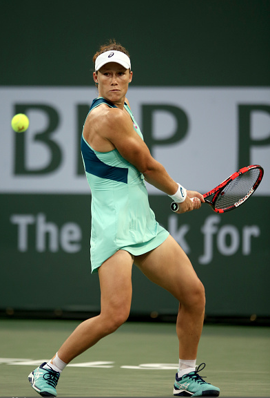 Stosur hits a backhand at the BNP Paribas Open.  Photo Courtesy: Getty Images Sport | Matthew Stockman