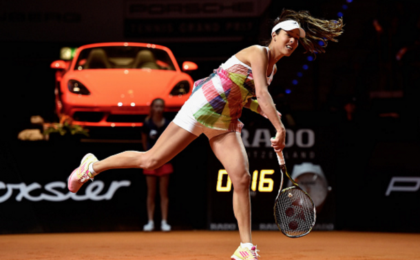 Ana Ivanovic of Serbia serves in her match against Carina Witthoeft of Germany during Day 2 of the Porsche Tennis Grand Prix at Porsche-Arena on April 19, 2016 in Stuttgart, Germany. (Photo by Dennis Grombkowski/Bongarts/Getty Images)