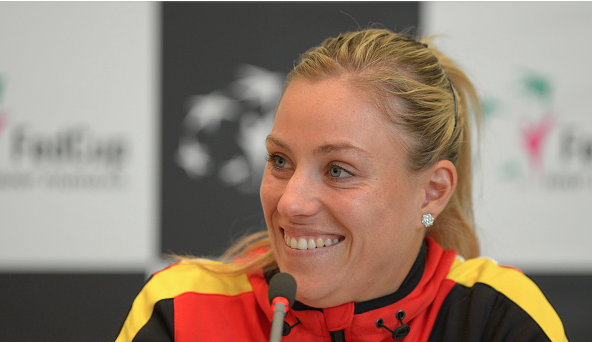 Kerber speaks to the media at the Fed Cup.  Photo Courtesy: Bogarts | Thomas Eisenhuth