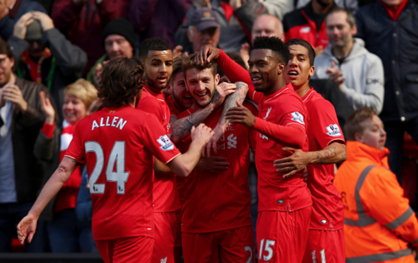 The Liverpool squad after Lallana made it 2-0. (Picture: Getty Images)