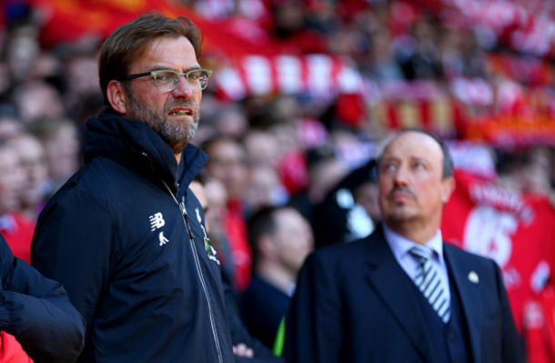 Klopp and Benitez on the touchline before kick-off. (Picture: Getty Images)