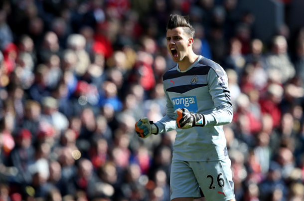 Darlow celebrates Newcastle's second goal in front of the away supporters. (Picture: Getty Images)