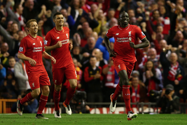 Sakho celebrates scoring in the Merseyside Derby on Wednesday night. (Picture: Getty Images)