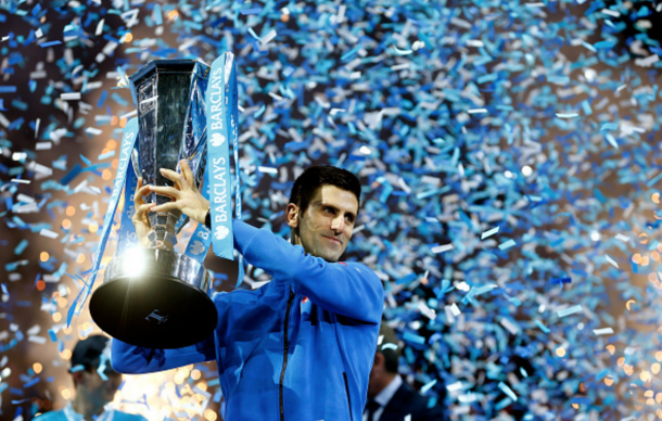 Novak Djokovic of Serbia lifts the trophy following his victory during the men's singles final against Roger Federer of Switzerland on day eight of the Barclays ATP World Tour Finals at the O2 Arena on November 22, 2015 in London, England. (Photo by Julian Finney/Getty Images)