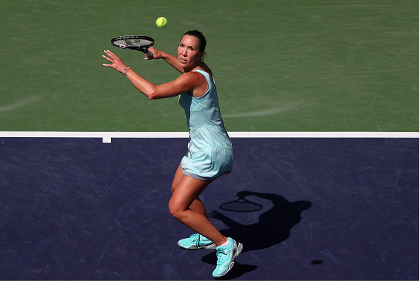 Jankovic returns a shot at the BNP Paribas Open.