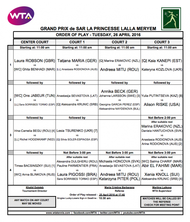 Tomorrow's schedule in Rabat, with many seeds in action.