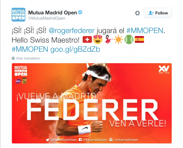 The tournament's official Twitter welcomed Federer's news. Credit: Mutua Madrid Open/Twitter