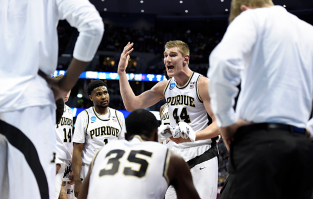 Isaac Haas (44) of the Purdue Boilermakers talks to the bench during a timeout in the first half against Arkansas Little Rock Trojans during the first half of their first round NCAA Tournament game on Thursday, March 17, 2016. (Photo by AAron Ontiveroz/The Denver Post via Getty Images)