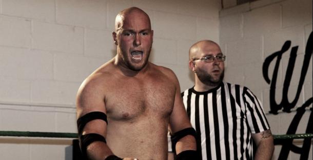 Seymor in a wrestling match with PCW (image: Gordon Harris)