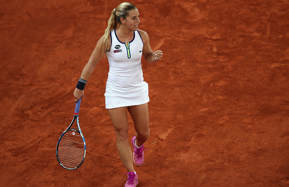 A very pumped Cibulkova, firstpumping her way through the semifinals. Photo:Getty Images/Clive Brunskill