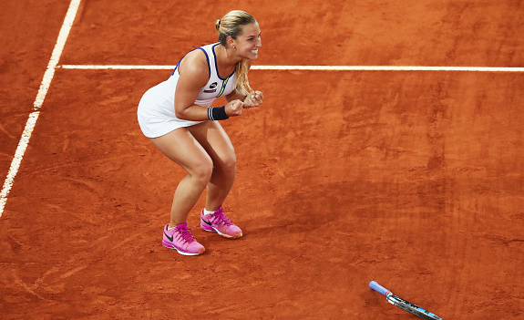 Dominika Cibulkova totally happy after her win today. Photo:Getty Images/Clive Brunskill