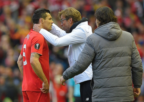 Lovren receives instructions from Reds boss Jürgen Klopp on Thursday night. (Picture: Getty Images)