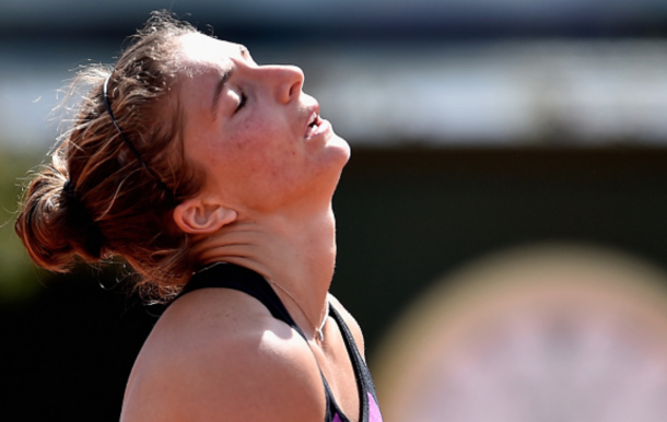 Sara Errani of Italy reacts during her match against Heather Watson of Great Britain on Day Two of The Internazionali BNL d'Italia 2016 on May 09, 2016 in Rome, Italy. (Photo by Dennis Grombkowski/Getty Images)