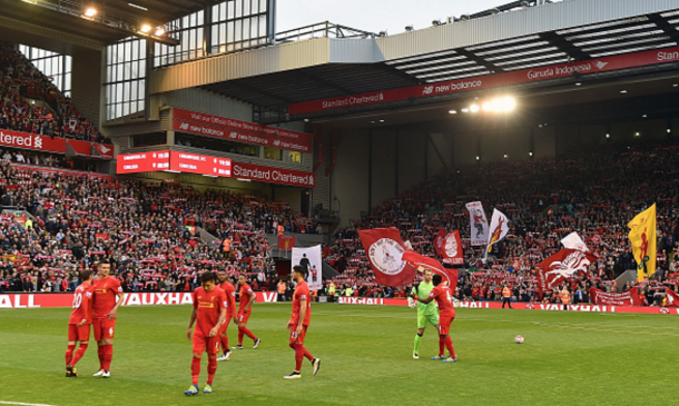 The Liverpool squad in front of the Kop before kick-off. (Picture: Getty Images)