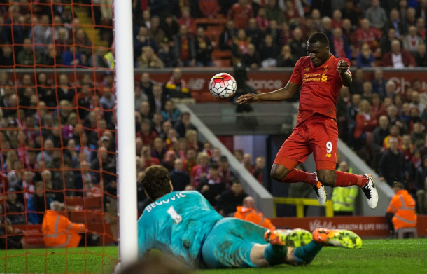 Benteke heads home from just a few yards out to salvage a late point. (Picture: Getty Images)