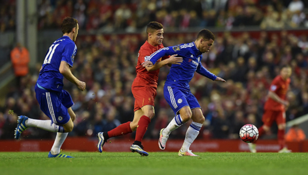 Hazard was back closer to his scintillating best under the Anfield floodlights. (Picture: Getty Images)