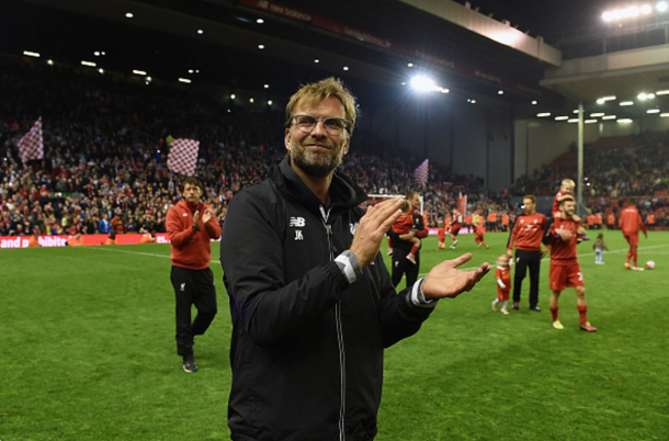 Klopp applauds supporters on his side's lap of honour around Anfield. (Picture: Getty Images)