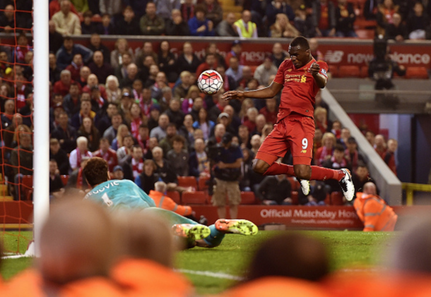Benteke meets Ojo's cross for Liverpool's late equaliser. (Picture: Getty Images)