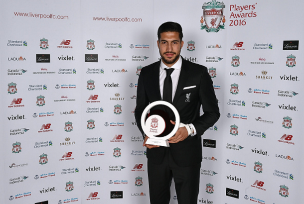 Can after receiving his award for Young Player of the Season. (Picture: Getty Images)