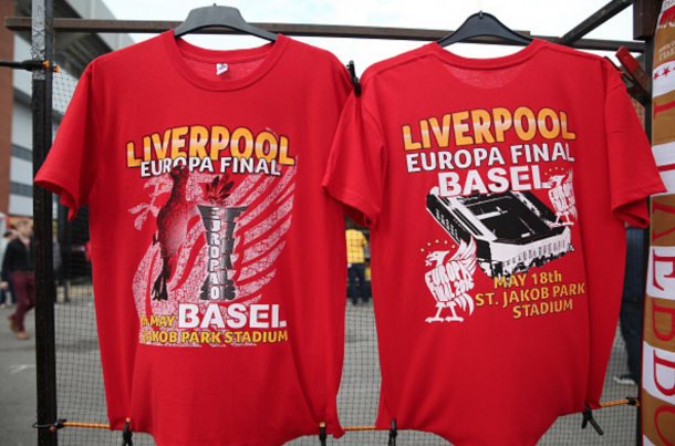 T-shirts outside Anfield celebrate the Reds reaching the UEFA Europa League final. (Getty Images)