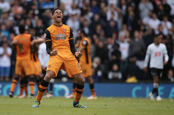 Curtis Davies celebrates after his Hull teammates make it 2-0. (Picture: Getty Images)