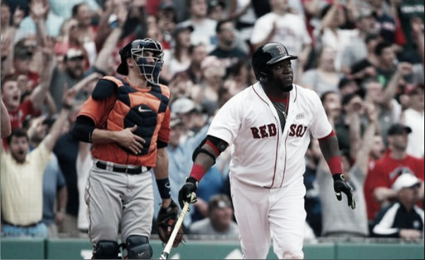 David Ortiz looks on as his walk-off double sails into deep center field. | AP