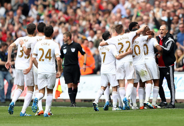 The Swans celebrate their equaliser. (Picture: Getty Images)