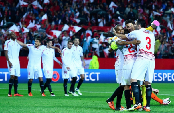 Sevilla celebrate beating Shakhtar to seal a third consecutive berth in the final. (Picture: Getty Images)
