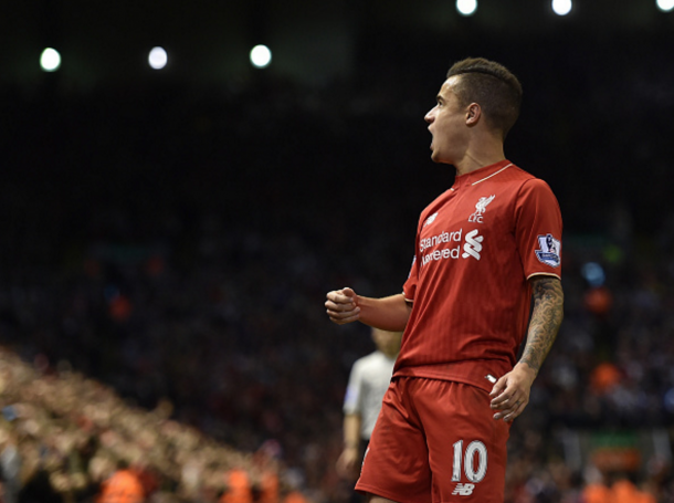 Coutinho celebrates a recent strike against Everton in the Merseyside Derby. (Picture: Getty Images)