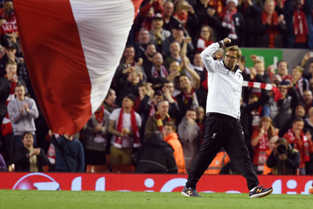 Klopp celebrates with the Liverpool supporters after reaching the final. (Picture: Getty Images)
