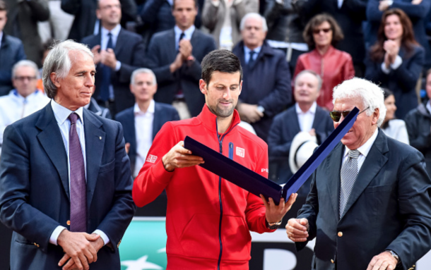 Novak Djokovic (SRB) during the awards of ATP Final match between Djokovic (SRB) - Murray (GBR) at the Internazionali BNL d'Italia 2016 at the Foro Italico on May 15, 2016 in Rome, Italy. (Photo by Giuseppe Maffia / DPI / NurPhoto via Getty Images)