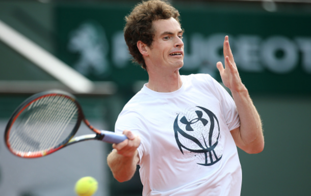 Andy Murray of Great Britain practices on Center Court ahead of the 2016 French Open at Roland-Garros stadium on May 19, 2016 in Paris, France. (Photo by Jean Catuffe/Getty Images)