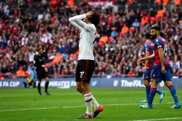 Fellaini, and then Martial, both hit the post for United. (Picture: Getty Images)