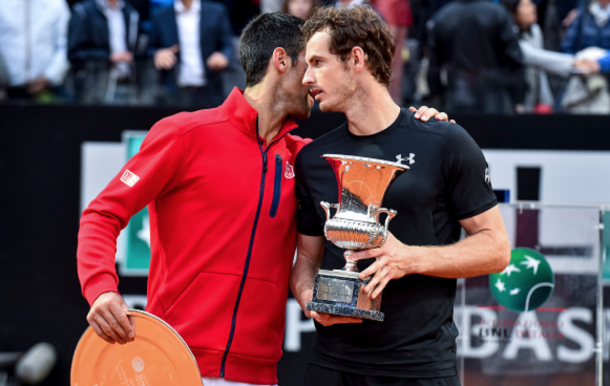 Novak Djokovic (SRB) congratulates Andy Murray (GBR) on his win after ATP Final match between Djokovic (SRB) - Murray (GBR) at the Internazionali BNL d'Italia 2016 at the Foro Italico on May 15, 2016 in Rome, Italy. (Photo by Giuseppe Maffia / DPI / NurPhoto via Getty Images)